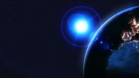 Noc cienia ziemia Neonowy o?wietlenie przestrze? globalny P?tli animacja ilustracji