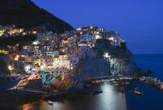Noc Cinque Terre Manarola Zdjęcia Royalty Free