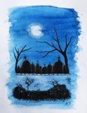 Noc cmentarz Obraz Royalty Free