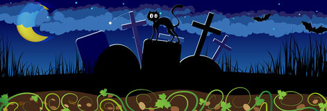 Noc cmentarz i czarny kot Zdjęcie Royalty Free