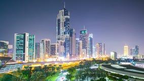 Noc czasu lekki panoramiczny wielki upływ od Dubai zbiory