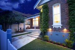 Noc domowi Światła Zdjęcia Royalty Free