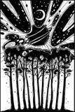 Noc gwiaździstego lasu krajobrazowy i surrealistyczny niebo royalty ilustracja