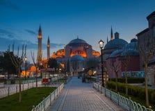 noc Hagia Sophia w Istanbuł Zdjęcie Royalty Free