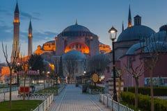 noc Hagia Sophia w Istanbuł Zdjęcia Royalty Free