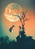 Noc halloweenowy tło Zdjęcie Stock