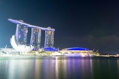 Noc i długa ujawnienie fotografia Singapur Marina zatoki piaski i Obraz Royalty Free