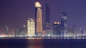 Noc 4k czasu lekki panoramiczny upływ od abu dhabi zbiory wideo