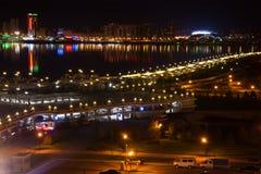 Noc Kazan Widoki na waterfrontand rzece Kazanka obraz royalty free