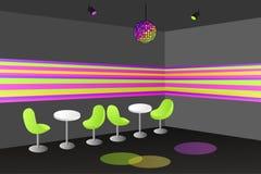 Noc klubu dyskoteki stołowego krzesła wewnętrzna ilustracja Obraz Stock