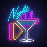 Noc klubu Neonowego znaka wektor na ściany z cegieł tle royalty ilustracja