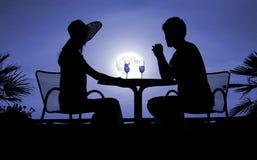 noc kobiece męskie sylwetki Fotografia Stock