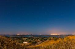 Noc krajobraz od Monsaraz Fotografia Royalty Free