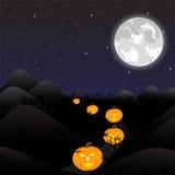 Noc krajobraz pod księżyc w pełni Obraz Royalty Free