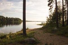 Noc krajobraz w Finlandia Zdjęcia Royalty Free