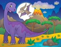 Noc krajobraz z dinosaura tematem 1 ilustracja wektor