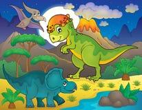 Noc krajobraz z dinosaura tematem 4 royalty ilustracja