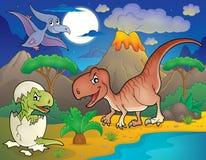 Noc krajobraz z dinosaura tematem 2 ilustracja wektor