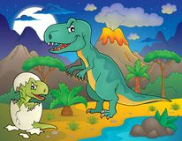 Noc krajobraz z dinosaura tematem 3 ilustracja wektor