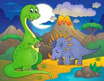 Noc krajobraz z dinosaura tematem 7 ilustracja wektor