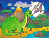 Noc krajobraz z dinosaura tematem 6 ilustracji