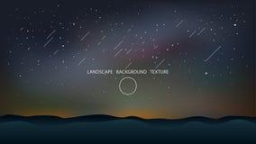 Noc krajobraz z wzgórzy i spada gwiazd wektoru ilustracją royalty ilustracja