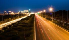 noc lekki ruch drogowy Zdjęcie Stock