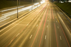 noc lekki ruch drogowy Obrazy Royalty Free