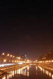 Noc miasto rzeka Obraz Stock