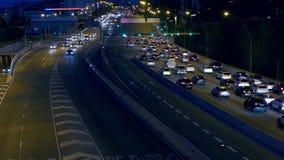Noc miastowego ruchu drogowego scena Barcelona zbiory