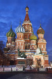 Noc Moskwa. St. Basil katedra Obrazy Stock