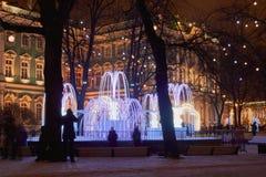 Noc nowego roku ` s miasto Zdjęcia Royalty Free