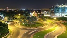 Noc okręgu 4k czasu lekki drogowy upływ od Dubai zbiory wideo