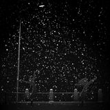 Noc opad śniegu w promienia świetle od latarni ulicznej. Ilustracji