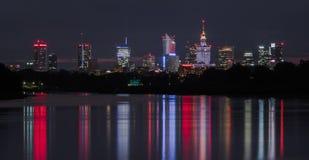 noc panorama Warsaw obrazy royalty free
