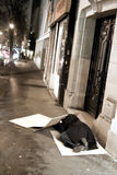 noc parisian żebrak zdjęcia stock
