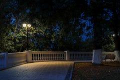 Noc park w jesieni Lampion w parku Obrazy Royalty Free