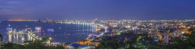 Noc Pattaya miasto Zdjęcia Royalty Free