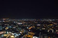 Noc Pattaya miasto od wzrosta ptasi lot Fotografia Stock