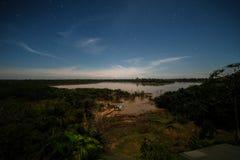 Noc pełno gwiazdy w Brazylijskiej amazonce fotografia royalty free