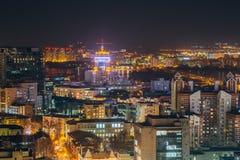 Noc pejzaż miejski od dachu Voronezh śródmieście Nowożytni domy Zdjęcie Royalty Free