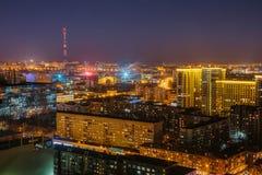 Noc pejzaż miejski od dachu Voronezh śródmieście Nowożytni domy Zdjęcia Royalty Free