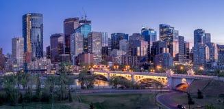 Noc pejzaż miejski Calgary, Kanada Obraz Royalty Free
