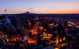 Noc pejzaż miejski Goreme, Turcja Zdjęcie Stock