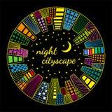 Noc pejzażu miejskiego round wektorowy szablon Fotografia Stock