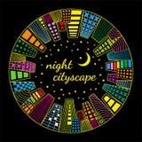 Noc pejzażu miejskiego round wektorowy szablon obraz stock