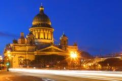 noc Petersburg st widok katedralny Kazan obraz royalty free