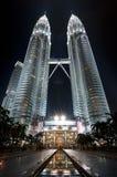 noc Petronas góruje bliźniaka fotografia stock