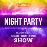Noc plakata koncerta tła Prywatka szablon Wektoru DJ klubu muzyczna plakatowa ulotka royalty ilustracja