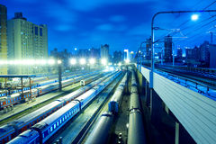 noc pociąg Fotografia Stock